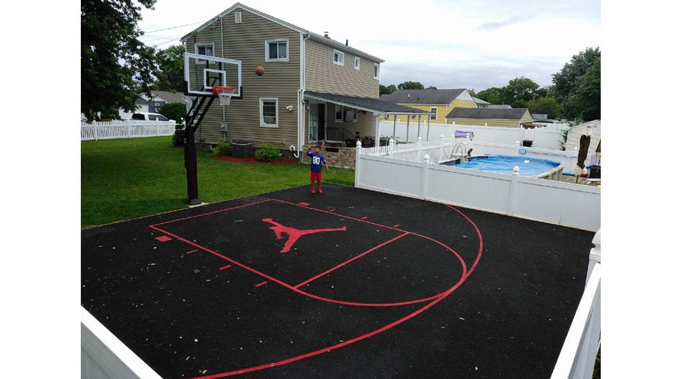 Basketball Court Installation, Outdoor Concrete Basketball Court Paint